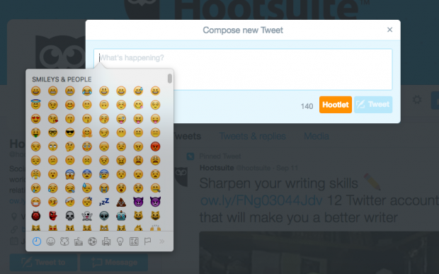 Twitter - Add emoji from your desktop