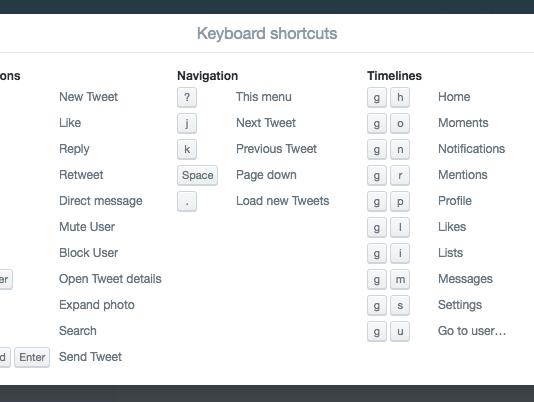 Use Twitter keyboard shortcuts