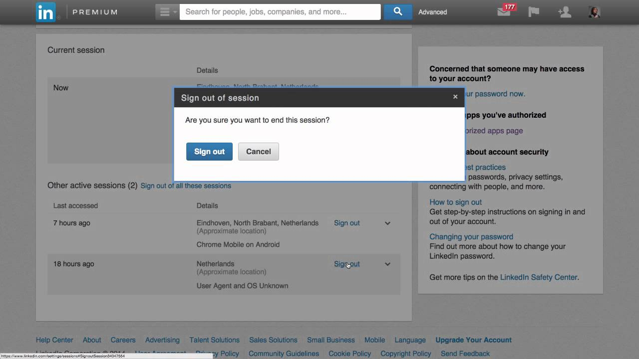 Remotely Log Out of LinkedIn