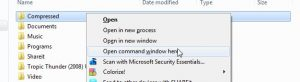 Open Command Prompt window from any Folder Location
