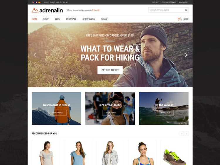 Adrenaline WooCommerce WordPress Theme Free Download