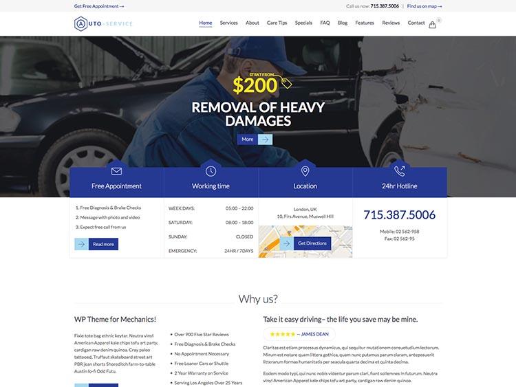 Auto Car Repair WordPress Free Download