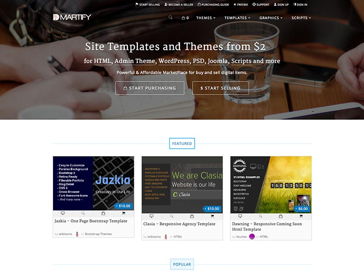 DMartify Alternatives for Selling WordPress Themes and Templates