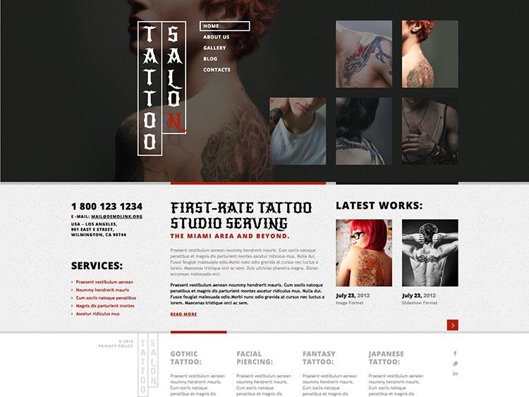 Tattoo Salon WordPress Theme Free Download