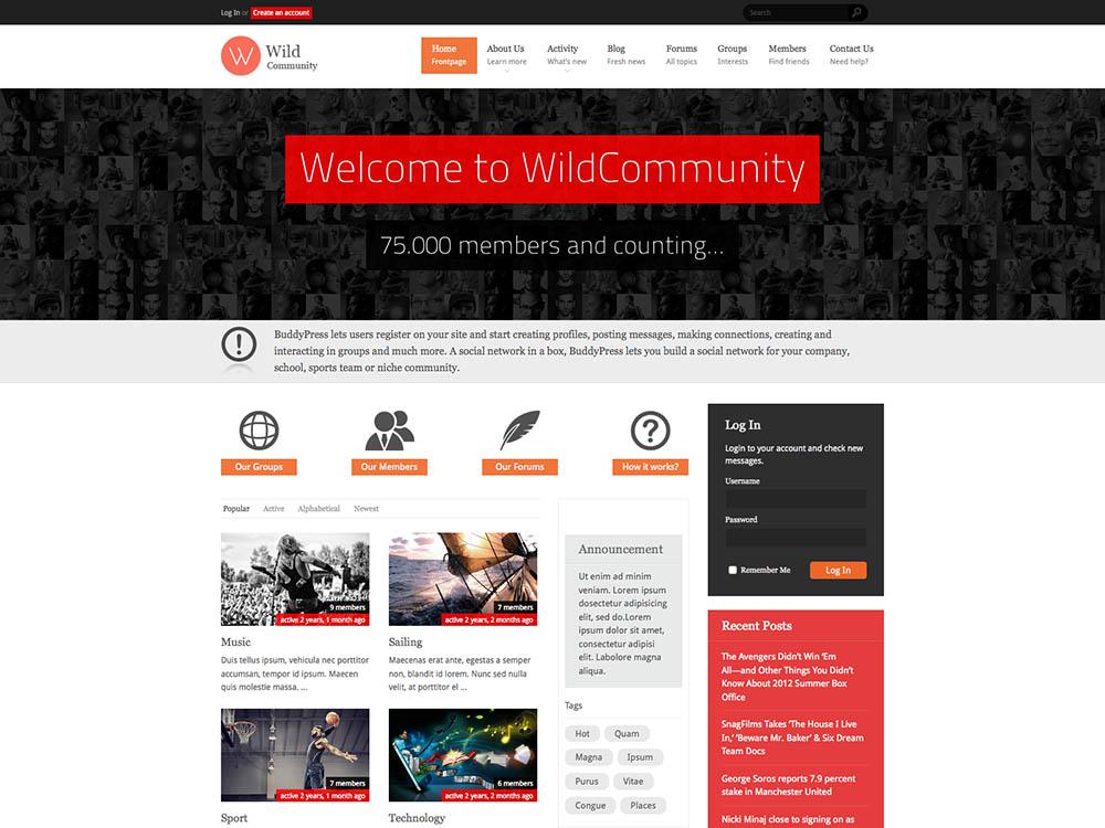 Wild Community WordPress Free Download